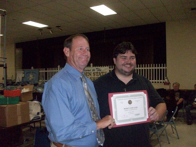 Hemet Numismatists Receives NASC's 1st Place Newsletter Award . Jim Phillips editor accepts certificte from NASC Pres Mike Kittle at the GSCS Awards Recognition Dinner August 26, 2017