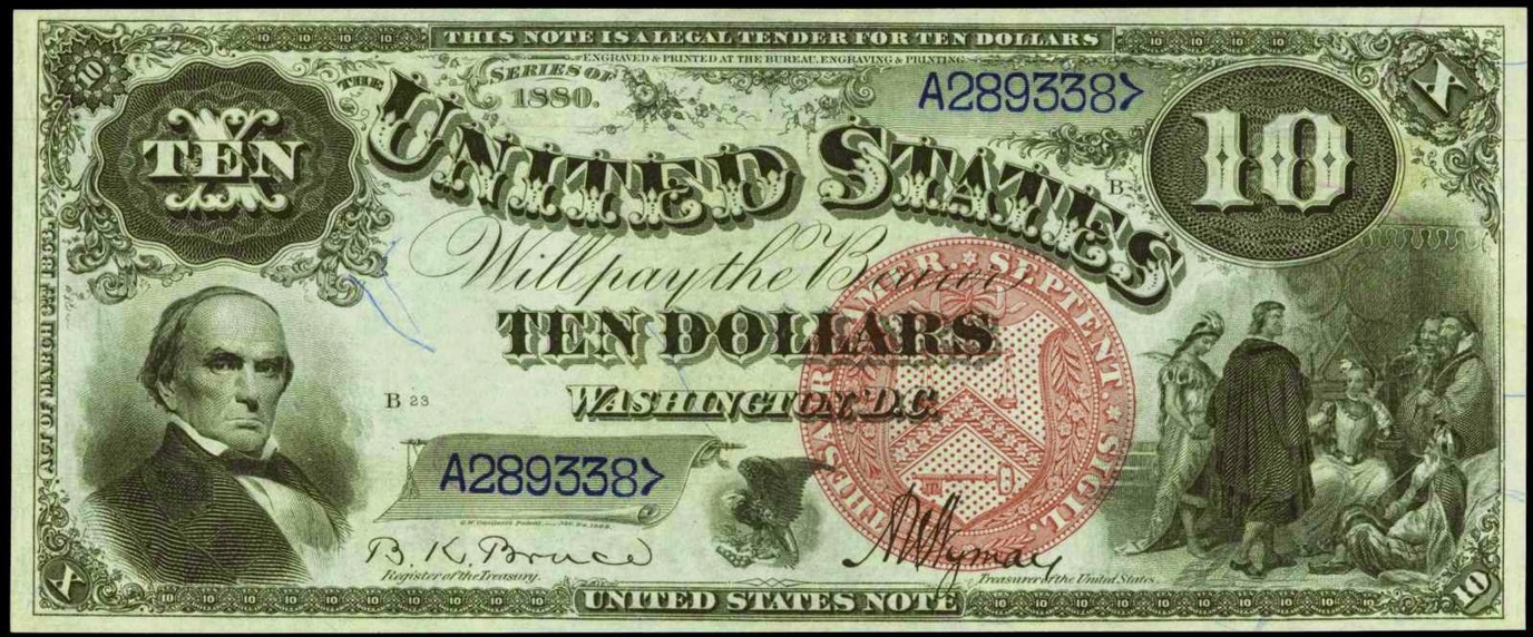 Large-Size United States Paper Money $10 Legal Tender Note